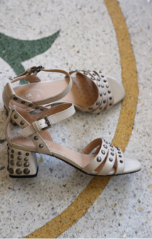 7b6352b1a The Geox Seyla is a mid-heel sandal in cream leather with studded block heel