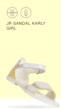 0290797683c The Geox Karly Sandal is a white and yellow sandal embellished with a  floral detail on