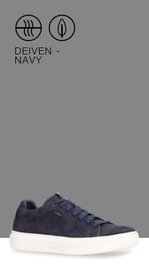 287a9ca3e11 The Geox men s Deiven is a minimalist sneaker crafted from faded navy-blue  suede and